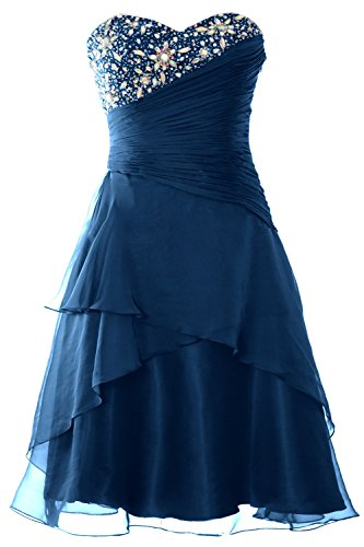 MACloth Women Strapless Short Prom Dress Tiered Cocktail Party Formal Gown Teal
