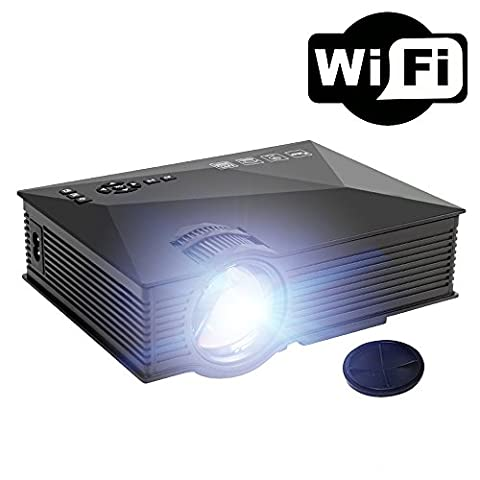 1200 Lumen Wireless Mini Coated Projector( Synchronous Screen with Phone/iPad/PC via WiFi ), Yisale® Portable LED Projector for Home Theatre & Game (Support