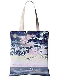 Flores del estilo japonés bolsa de lona del ilustrador Bolsa de compras del viaje Cielo multicolor