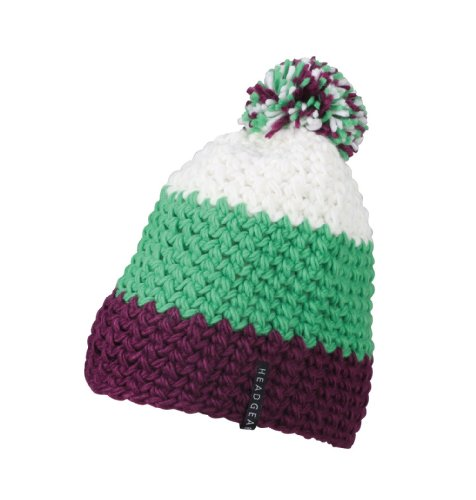 Myrtle Beach Damen Hakelmütze mit Bommel, purple/lime-green/white, One size, MB7940 puli