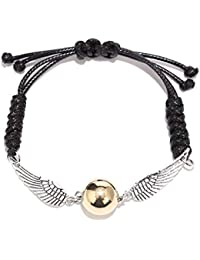 BaubleStar Golden Snitch Bracelet Leather Chain Gift Jewellery for Fans, Base Metal