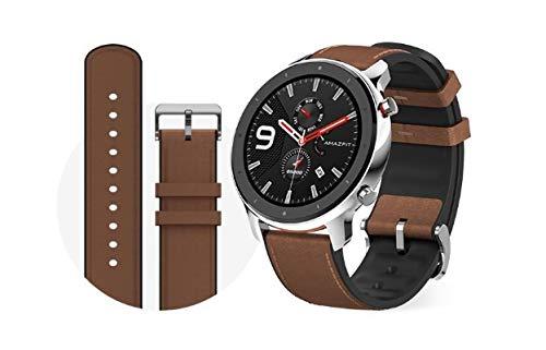 Xiaomi Amazfit GTR 47mm Smartwatch Edelstahlcase, brownes Braccialetto