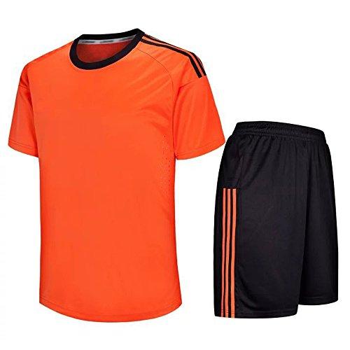 KINDOYO Herren & Jungen Fußballtrikot, Kurzarm-Fußball-Shirt + Fußball-Hosen, Fußballtrainingskleidung/Fußballspiel-Anzug (Orange,EU S = Tag M)