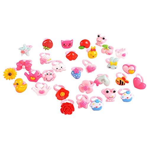 in Schmuck Set von 50 Stück, verstellbare Ringe für Mädchen Dress up Fingerringe Geschenke ()