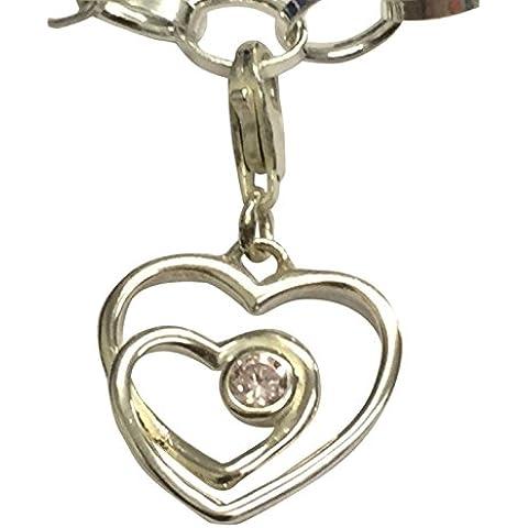 Our Hearts'in argento Sterling, con pietra portafortuna