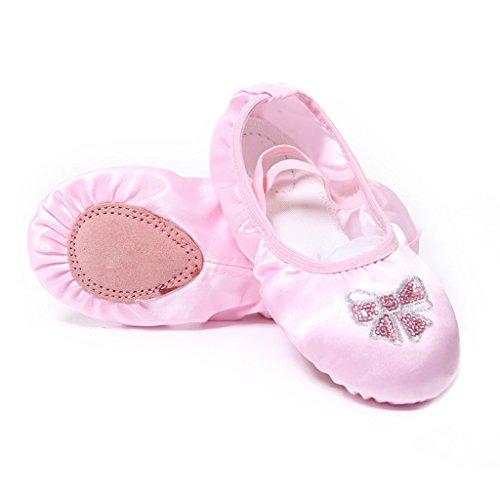 chuhe Rosa für Kinder Balletschläppchen Weich Ballet Trainings Schläppchen Schuhe für Mädchen/Damen in Den Größen 25-40 (36 EU, Pink) (Bloch Flach)