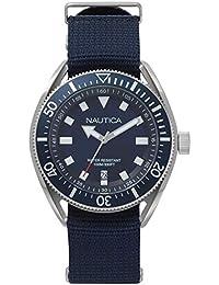 6fc9e375c385 Nautica Reloj Analogico para Hombre de Cuarzo con Correa en Cuero NAPPRF009