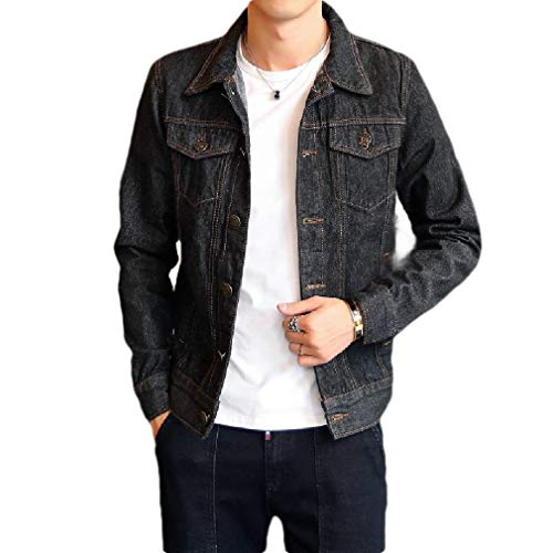 CuteRose Men with Pockets Bomber Loose Vintage Wash Denim Jacket Outwear Black S Sherpa Lined Denim