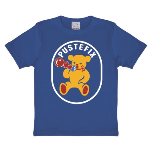 Seifenblasen Kostüm (Pustefix Bär T-Shirt Kinder - blau - Lizenziertes Originaldesign - LOGOSHIRT, Größe 80/86, 18)