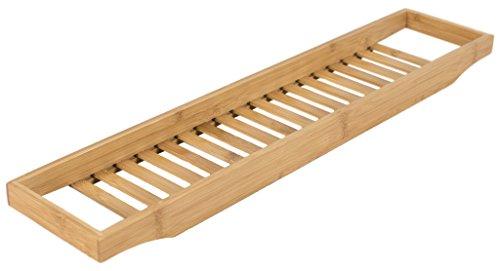 elbmöbel Badewannenablage aus Bambus 68 x 15 x 4,5 cm Wannenbrücke zur Ablage von Seife und Schwamm Badewannenauflage Wannenaufsatz als Badewannentablett, natur