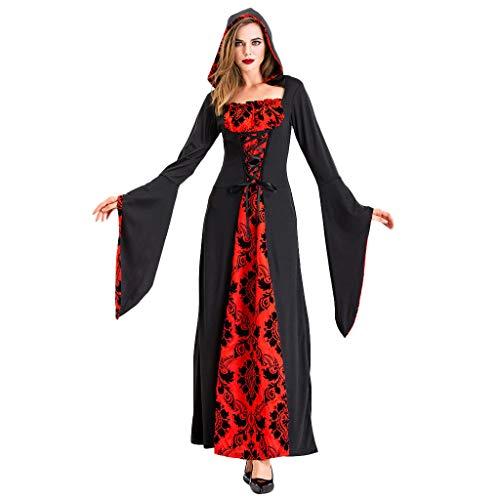 Mypace Elegant Sexy Bodycon Casual Herbst Dresses für Mode Frauen Halloween Cosplay Teufel Kostüme Hexe Vintage Mittelalter Tod Kleid (Eleganter Teufel Kostüm)