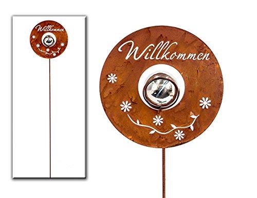 Gartenstecker Willkommen Metall H 100 cm
