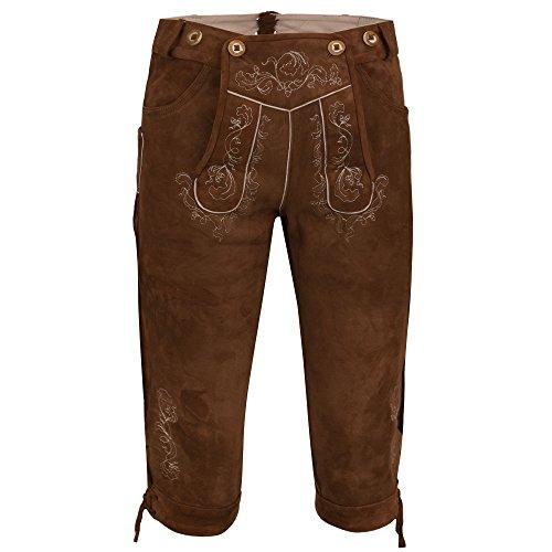 Almbock Wildbock Lederhose Herren | Trachten Lederhose Kniebund Braun mit Stilvollen Eichenlaubstickereien | Trachtenhose Echtleder - Lederhose 50