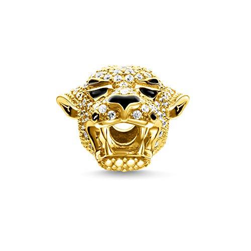 THOMAS SABO Damen Bead Tiger 925er Sterlingsilber; 750er Gelbgold Vergoldung, Schwarz Emailliert K0316-565-14