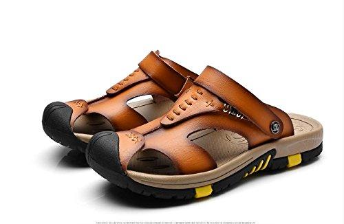 JiZhi sandali / pistoni di estate antisdrucciolevoli uomo / traspirante / infradito / scarpe da spiaggia / casuale esterno del tacco piatto / Walking Brown