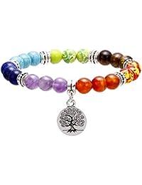 Gudeke 7 Chakra Piedras Preciosas Naturales Yoga Reiki Cura Pulsera Árbol de la Vida/Lotus / OM Símbolo Encanto Brazalete