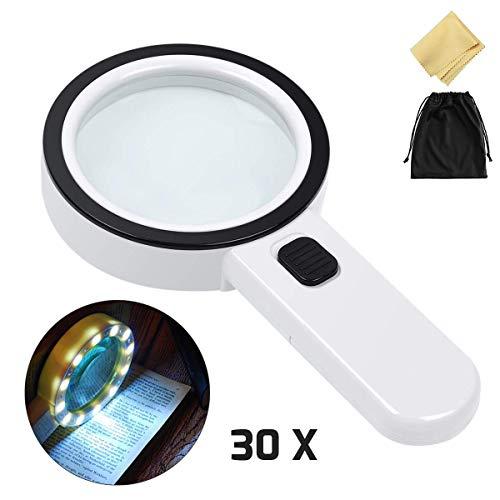 30X Lupe mit 12 Led Licht, Vibury Handlupe 105mm groß Leselupe mit Doppelglaslinse für Senioren Lesebuch Magazinen, Schmuck, Münzen, Briefmarken, Handwerk