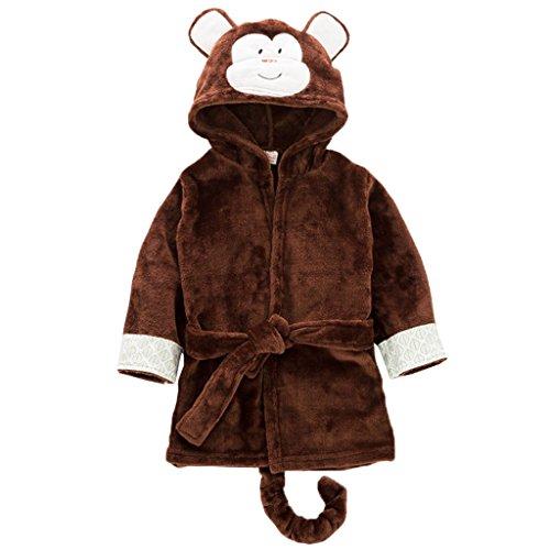 (Kinder Nachtwäsche mit Kapuze Bademantel, Baby Kleinkind Jungen Mädchen Nachthemd Flanell Pyjamas Bademäntel Cartoon Tiere Handtuch Affe)