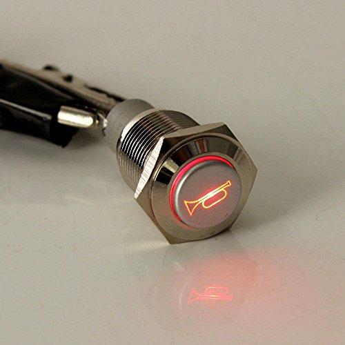Mintice TM Druckschalter Schalter Drucktaster 12V 19mm Blau LED aus Metall für Auto Lautsprecher Horn Hupe (Hörner Lautsprecher Für Autos)