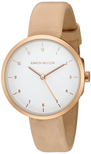 Karen Millen Women's Cream Leather Strap Watch