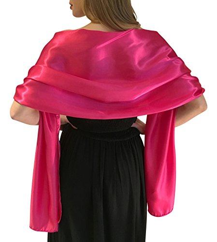 Silky satin stola dell'involucro dello scialle sciarpa pashmina per la sposa damigelle in avorio bianco nero blu argento oro rosa grigio verde (l-xl, rosa caldo)