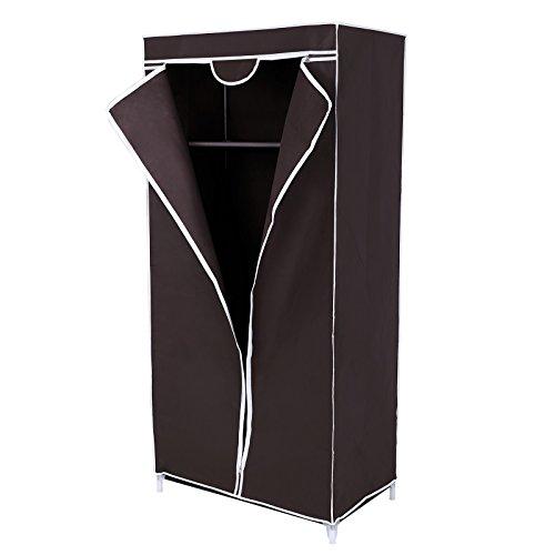 Songmics armadio cabina guardaroba appendiabiti in acciaio tessuto 160 x 75 x 45 cm marrone ryg83z
