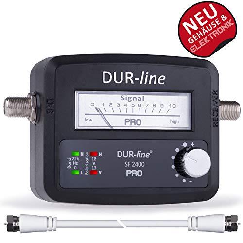 DUR-line® SF 2400 Pro - Satfinder - Messgerät zum exakten Ausrichten Ihrer digitalen Satelliten-Schüssel inkl. F-Kabel und deutscher Anleitung 4 Line Analog