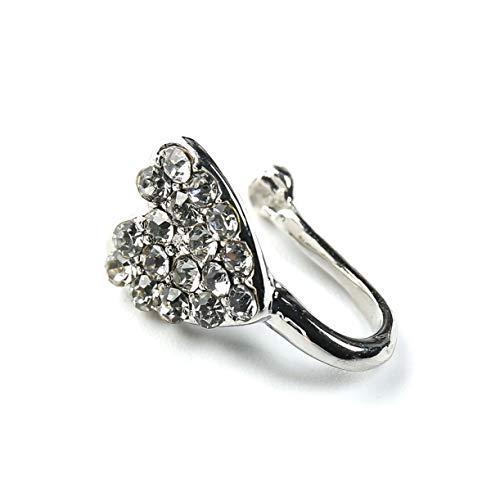 hjfgy Dank Crystal Heart Unique Fake Nose Ring für Frauen Fake Septum Piercing Nasenringe und Studs Noseclip Splint Body Jewelry(None silvery)