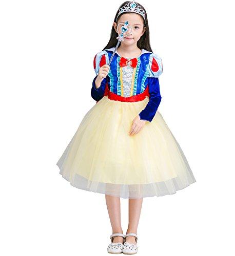 Das beste Schneewittchen Kostüm Kinder Glanz Kleid Mädchen Rollenspiele Weihnachten Verkleidung Karneval Party Halloween (Babys Kostüme Für Schneewittchen)