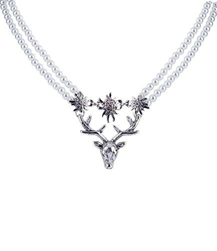 TOSH Damen Halskette, Perlenkette, Hirsch, Oktoberfest, Trachtenschmuck, Anhänger, Strasssteine, doppelreihig, Silber (362-615)