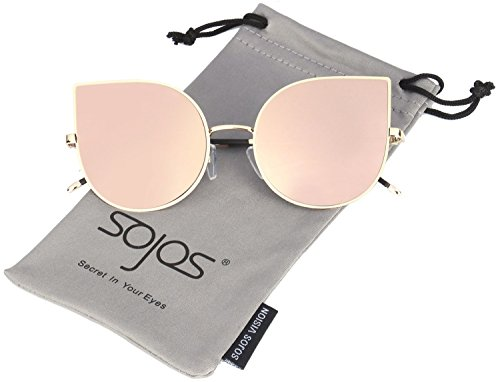 SOJOS Cateye Damen Sonnebrille Mirrored Ultra Thin Ultra Light Metal Frame Women Sunglasses SJ1022 mit Rosa Linse