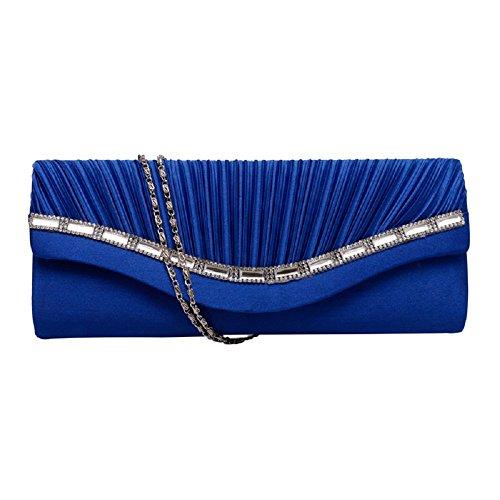 Wanfor Damen Handtasche aus plissiertem Kristall mit Nieten aus Satin, Funkelnde Party Clutch aus Leder mit Kettenriemen (Royal blau) (Nieten-handtasche Blaue)