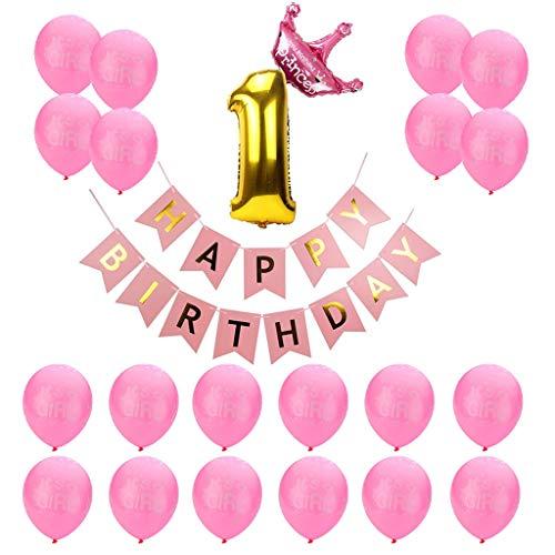 Amycute 23 Stück 1. Geburtstag Happy Birthday Dekoration für Geburtstagsfeiern, 1 Jahr Kindgeburtstag deko, Geburtstagsdeko Rosa(Baby Girl Mädchen)