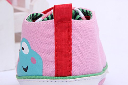 Yue Lian Baby Unisex Kinderschuhe Frosch Muster Kleinkindschuhe Bunt Schnürsenkel Rosa