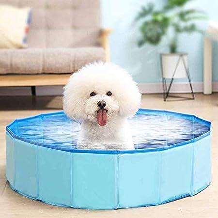 Decdeal Faltbarer Hundepool Hundebadewanne Planschbecken Swimmingpool für Hunde Größe Optional (blau, 30X10)