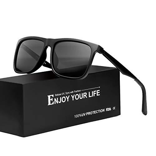 TJUTR Sonnenbrille Herren Polarisierte Metall Rahme Ultra Leicht100% UV Schutz Fahren Sonnenbrille (Schwarz/Grau)