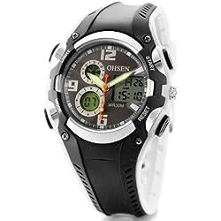 Alienwork Analog-Digital Armbanduhr Multi-funktion LCD Uhr Backlight schwarz Kautschuk OS.AD1309-1