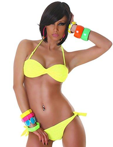 P.F. Damen Bandeau-Neckholder-Bikini im gedrehten Design Gelb