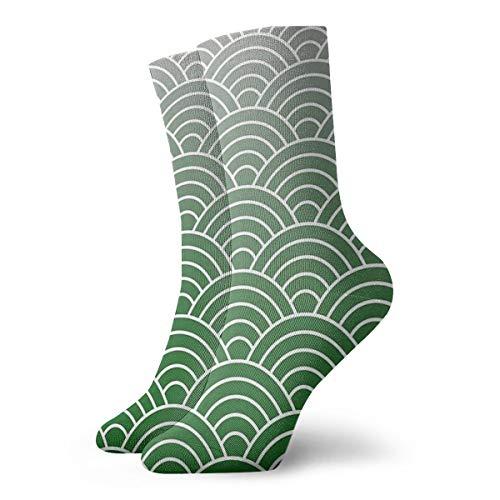 BLUETOP House Pride Athletic 30 cm Socken, Fischschuppen-Muster, Grün und Silber