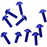 10x Tornillos Pernos Marco de Matrícula Aluminio Decorativos Cubren 16x5mm / 20x6mm - Azul 20x6mm