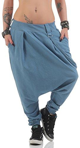 Malito di Base Pantaloni Harem Pantaloni Aladin Baggy 91086 Donna Taglia Unica (Color di Jeans)