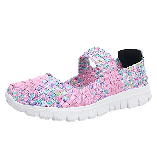 ad13adc8 DoGeek Zapatillas Ligeras Tejidas Malla Elastic Sandalias para Mujer  Resistentes al Agua Transpirables Zapatos de Verano