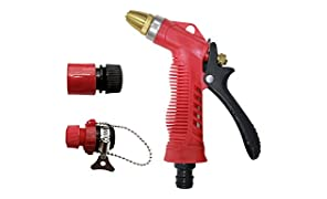 "AquaHose Jet & Spray Function Water Spray Gun Set Red for Window Cleaning - 1/2"" (12.5 mm) Bore Size Hose with Connector & Tap Adapter"