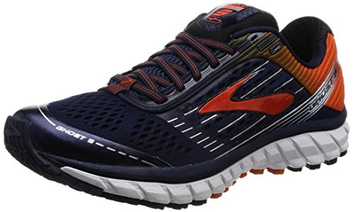 Brooks Ghost 9, Scarpe da Corsa Uomo Peacoat/Red Orange/Black