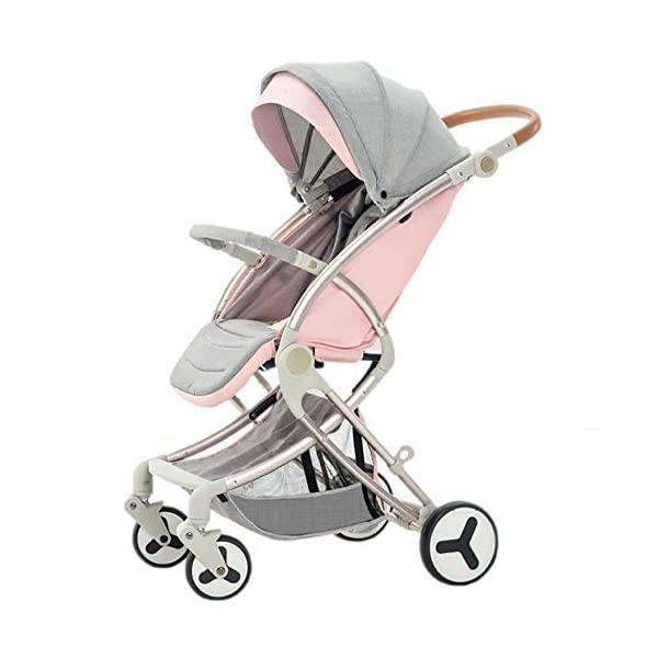 LAZ Newborn Infant Baby Stroller, Folding Lightweight Baby Stroller Toddler Travel System Anti-Shock Pram for Toddler Girls and Boys Stable Stroller (Color : Pink)  ★ Quick folding system. The folding stroller weighs about 7KG and is light! ★ Five-point seat belts protect your baby at all times, and parents don't have to worry about your baby slipping out of the stroller. ★ Supports supine, multi-position tilting seat, lying and sitting position, with a comfortable system. 1