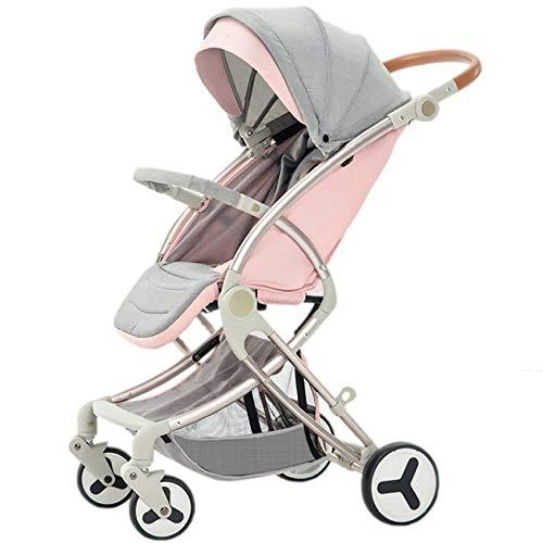 LAZ Neugeborenen Kinderwagen oller Folding Lightweight Baby Stroller Kleinkind Travel System Anti-Shock-Kinderwagen für Kleinkinder Mädchen und Jungen stabilen Kinderwagen (Color : Pink) (Für Mädchen Travel-system-kinderwagen)