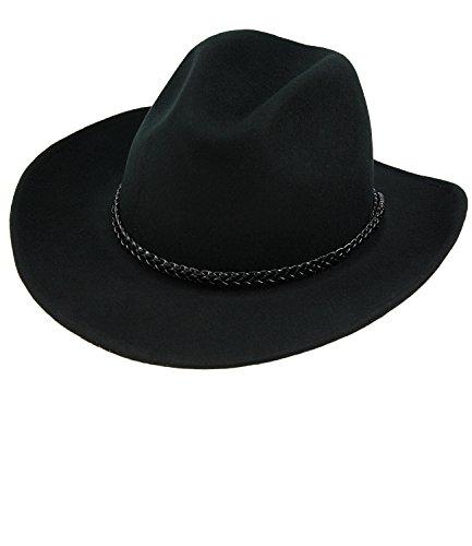 Fiebig Herrenfilzhut Filzhut Panamahut Cowboyhut Wollhut Übergangshut Bogart Wollfilz Frühjahr mit Zeirband für Männer (FI-30645-S17-HE0-18-60) in Schwarz, Größe 60 inkl. (Kostüme Gute Sheriff)