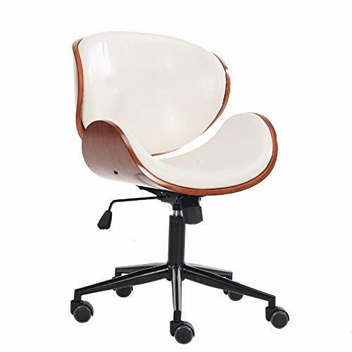 LJHA Bürostuhl Drehstuhl, Massivholzspleiß Bürostuhl Freizeit Hebe Computer Stuhl Ergonomischer Personalstuhl - PU-Kissen, Schwarz Weiß Arbeitsstuhl (Color : White) (Executive Stuhl Kissen)