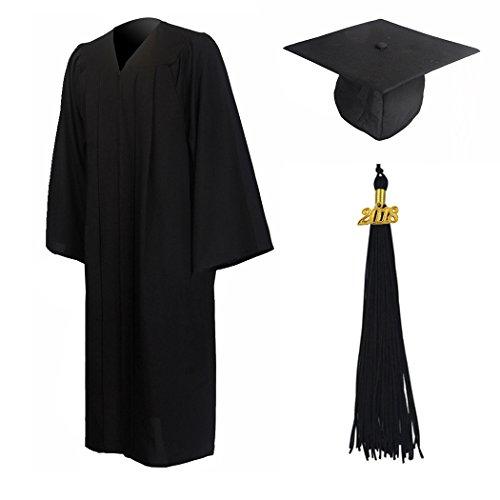 GraduationMall Talar Doktorhut und Quaste Schule abschließen Uni Diplom Abschluss und Abschlussfeier (Schwarz-stoff-quaste)