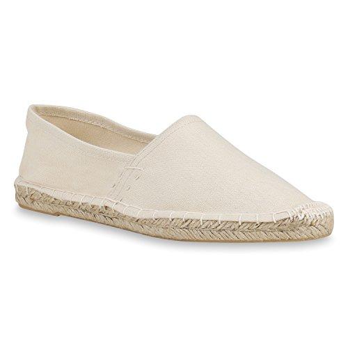 Damen Slippers Espadrilles Bast Slip Ons Stoffschuhe Flats Schuhe 158692 Crerme Agueda 39 Flandell -